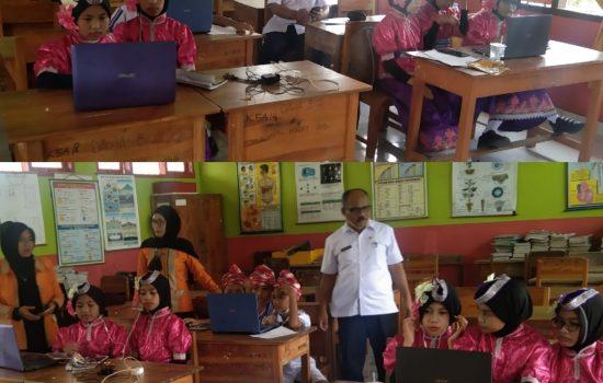 Kasek SDN 9 Katobu, Karmin ,S.Pd, M.Si bersama dua Guru Pembimbing KIHAJAR STEMnya saat mengikuti Finalisasi melalui Video Confrence (FOTO: Zainal)