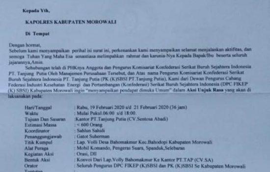 Surat Pemberitahuan Aksi Unjuk Rasa SBSI Morowali